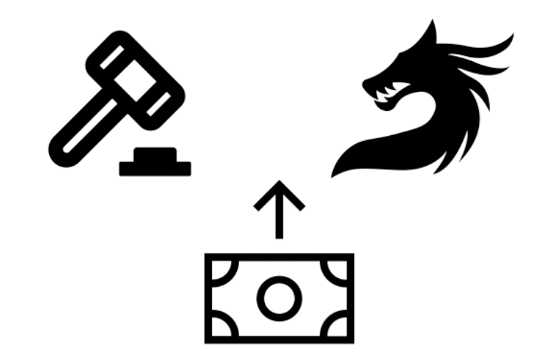 Three illustrations of a bank note, a court hammer and a mythical creature.